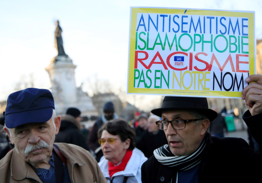 People attend a national gathering to protest antisemitism and the rise of antisemitic attacks
