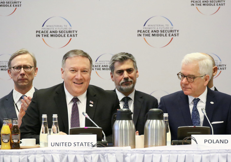U.S. Secretary of State Mike Pompeo and Polish Foreign Minister Jacek Czaputowicz attend a plenary