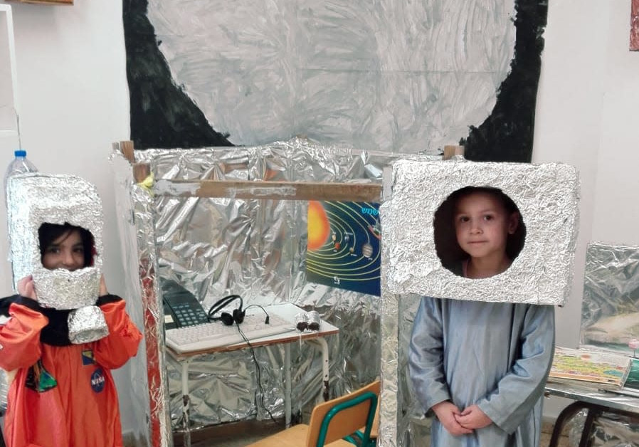 The Arava kindergarten of Ariel children get ready to fly to the moon
