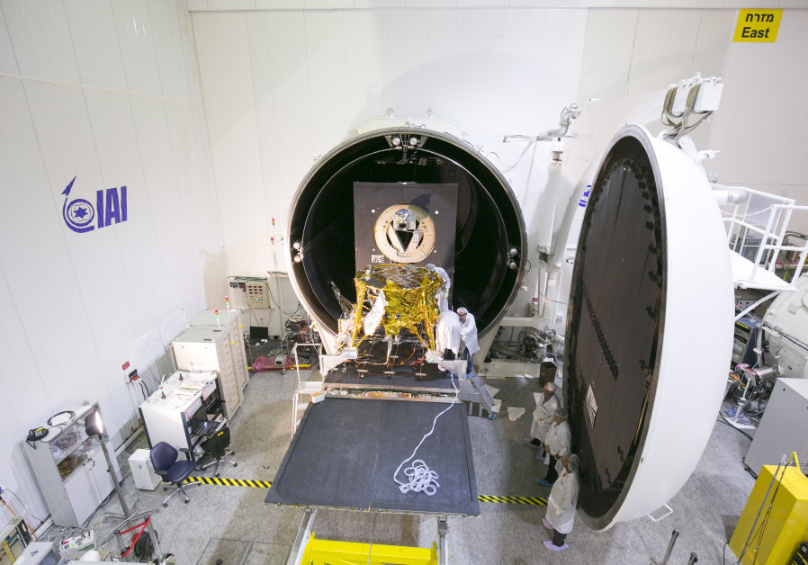 SpaceIL's spacecraft at the entrance to the vacuum chamber