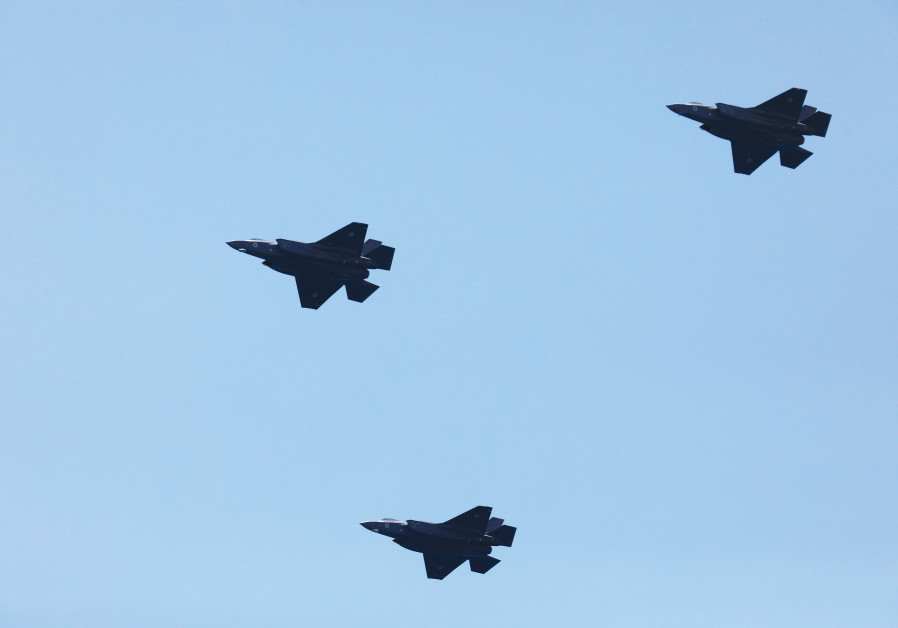 F-35 warplanes doing a flyover in 2018 in Israel.