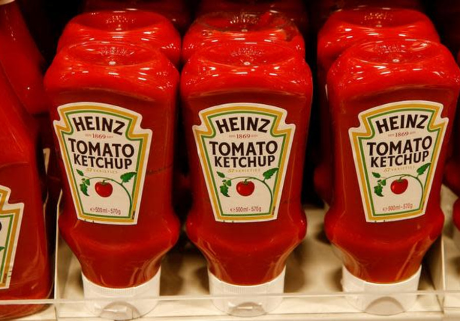 Bottles of Heinz tomato ketchup of U.S. food company Kraft Heinz are offered at a supermarket