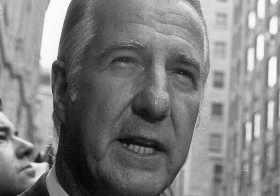 File photo: Spiro Agnew outside federal court in Baltimore.