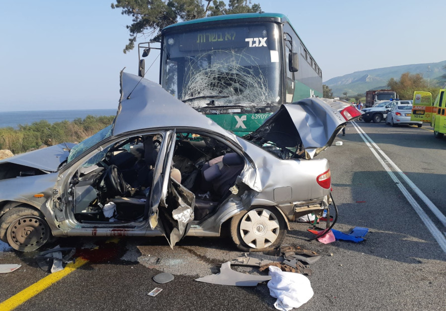 One dead, seven injured as bus and car collide near Sea of Galilee