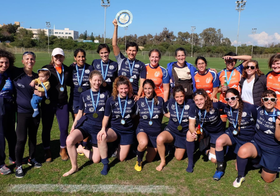The Tel Aviv Amazons women's 7s rugby team after their national championship win, February 2019