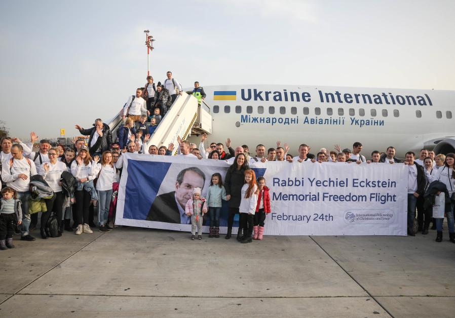 First immigrant flight lands in Israel since Rabbi Eckstein's death.