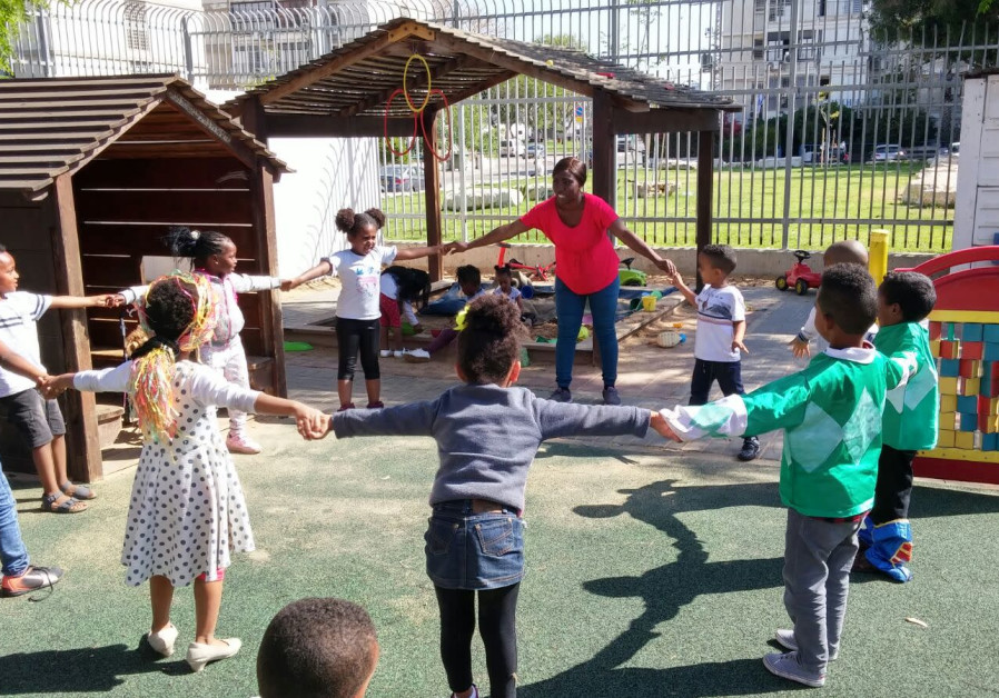 Children at a kindergarten for asylum seekers in south Tel Aviv.