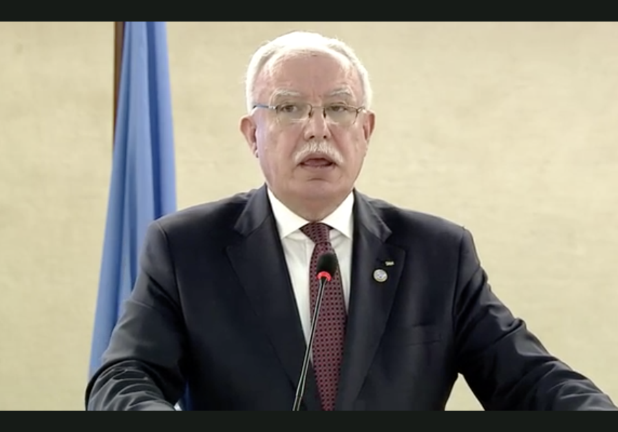 Palestinian Authority Foreign Minister Riad al-Malki at the United Nations Human Rights Council.