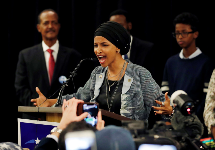 Democratic congressional candidate Ilhan Omar speaks at her election night party in Minneapolis.