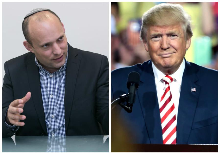 Naftali Bennett (L) and Donald Trump (R)