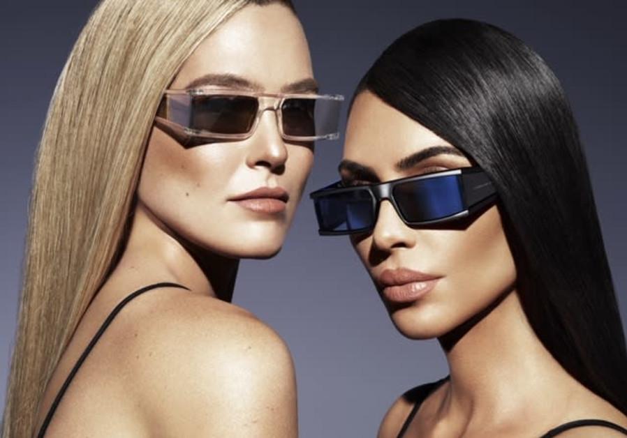 Kim Kardashian and Bar Refaeli in an ad for the new Carolina Lemke sunglasses line