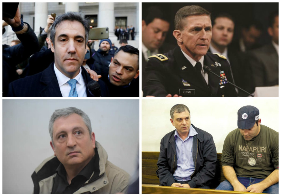Clockwise: Michael Cohen (top left), Michael Flynn, Nir Hefetz, Shlomo Filber