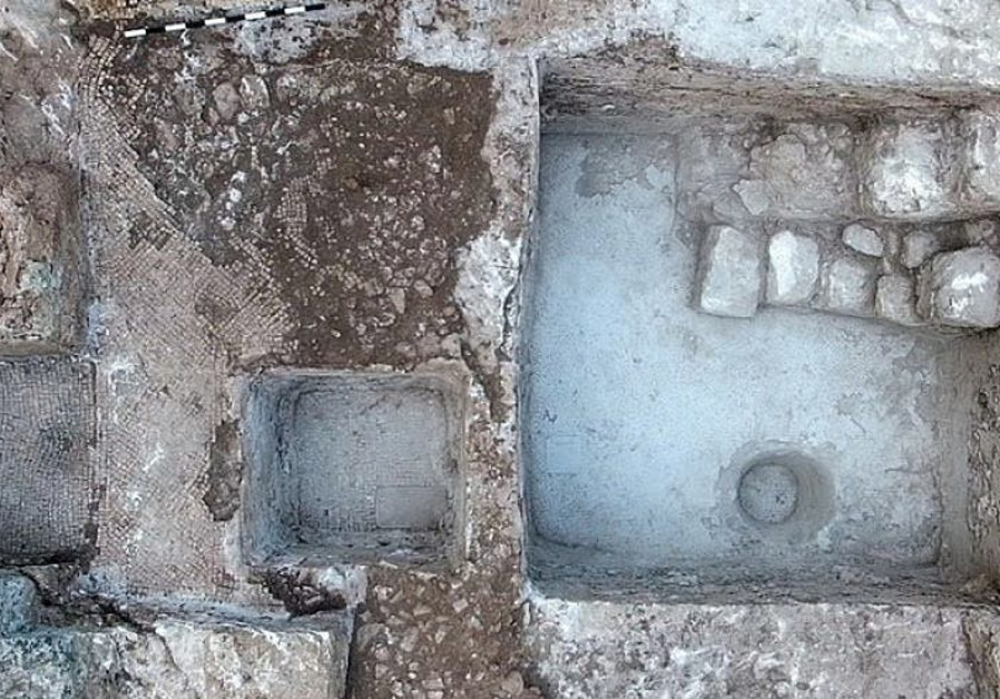 The ancient wine press and inscription uncovered at Tzur Natan.