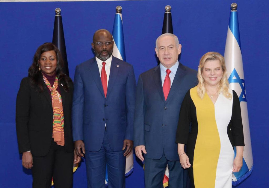 Prime Minister Benjamin Netanyahu and his wife with Liberian President George Weah and his wife