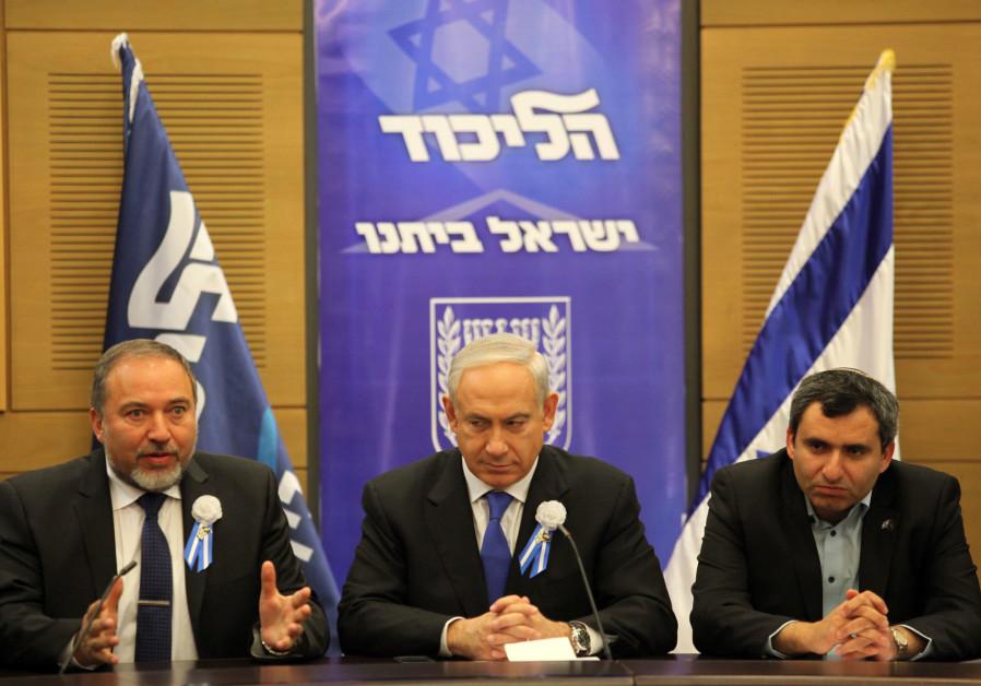 Benjamin Netanyahu (C), Avigdor Liberman (L) and Ze'ev Elkin (R), during a meeting between the Likud
