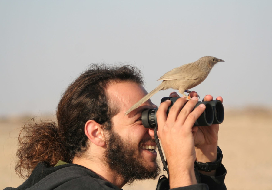 A laughingthrush lands on a birdwatcher's binoculars.