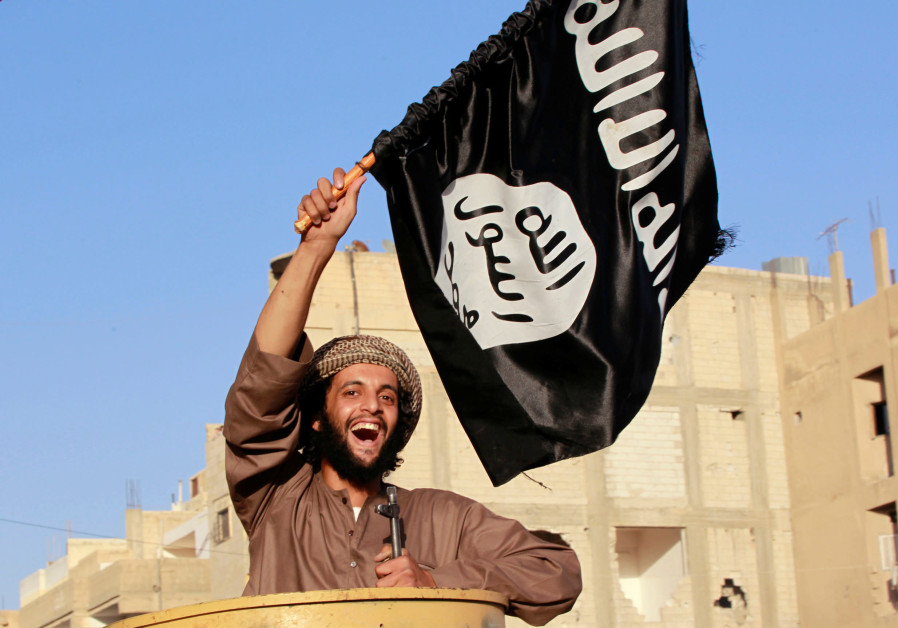A militant Islamist fighter waving a flag, cheers as he takes part in a military parade along the s