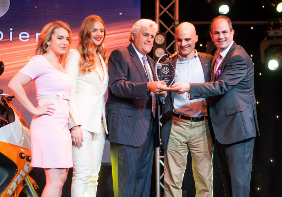 Jay Leno accepts the Humanitarian Award.