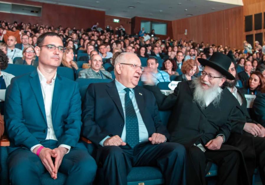 Health Ministry Director-General Moshe Bar Siman Tov, President Reuven Rivlin and Ya'acov Litzman