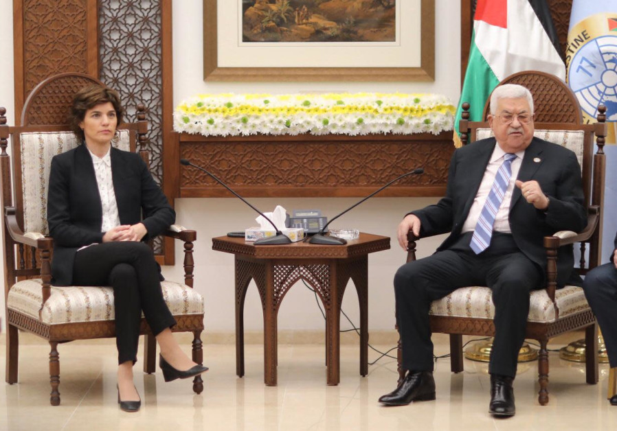Meretz chairwoman Tamar Zandberg (L) and PA President Mahmoud Abbas (R), March 10th, 2019