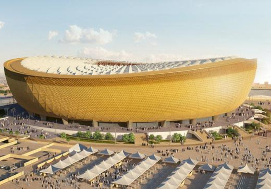 A computer generated image of Lusail Stadium that will host the 2022 FIFA World Cup final, in Qatar