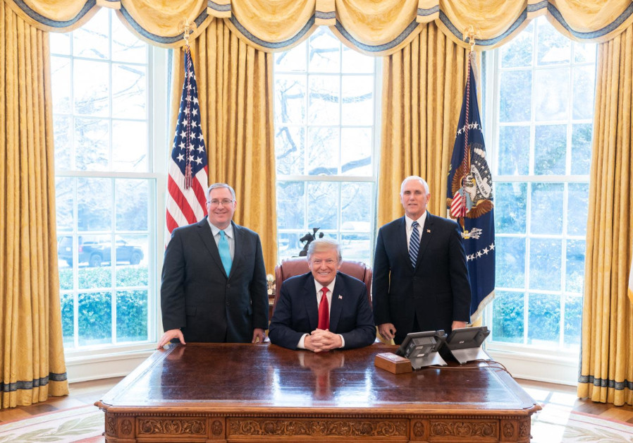 Joel C. Rosenberg, US President Donald J. Trump and US Vice President Michael R. Pence