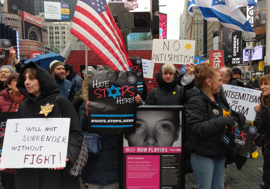 Protesters in New York as part of the Say No to Hate worldwide protests to fight antisemitisim