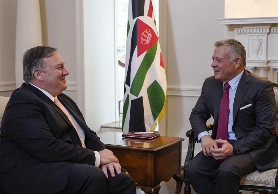 Jordanian King Abdullah II (R) meeting with US Secretary of State Mike Pompeo