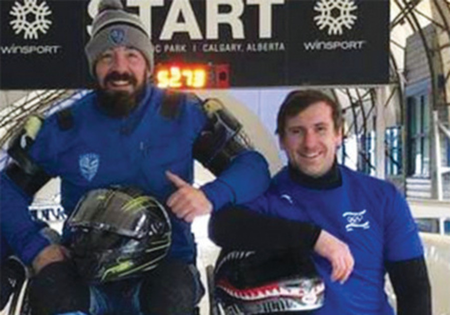 DAVE NICHOLLS (left) and Ilya Malikin (right) represented Israel together in the two-man bobsledding