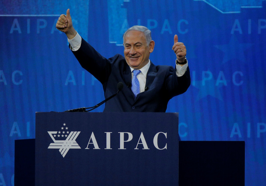 Prime Minister Benjamin Netanyahu speaks at the AIPAC policy conference in Washington, DC, U.S