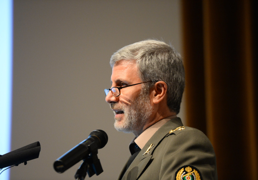 Iranian Minister of Defense Amir Hatami makes a speech on November 27, 2018