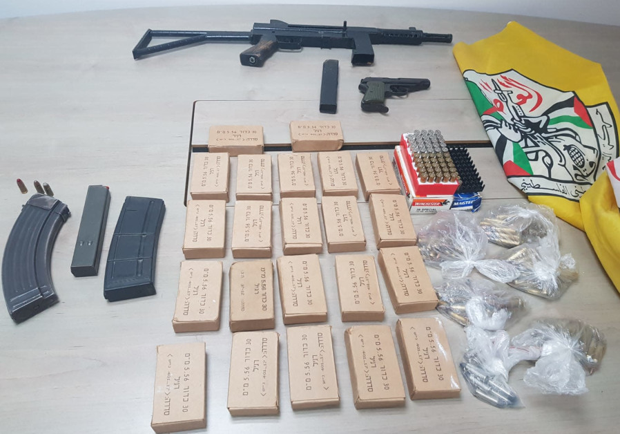 Carl Gustav rifle and assorted ammunition confiscated by Israel Police and IDF forces from Hebron