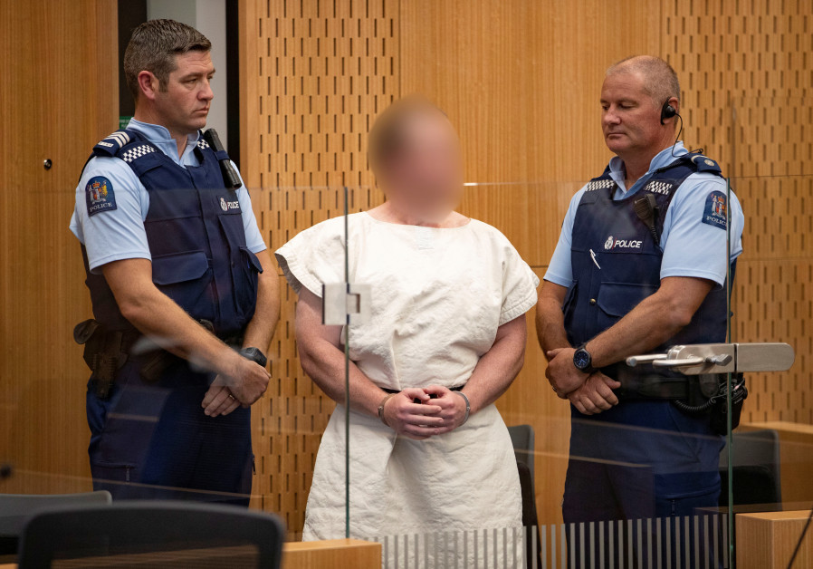Brenton Tarrant, charged for murder in relation to the mosque attacks, is seen in the dock during hi