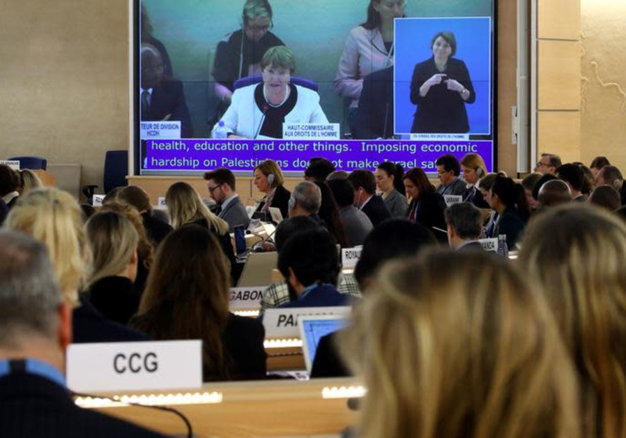 U.N. High Commissioner for Human Rights Michelle Bachelet attends a session of the UNHRC
