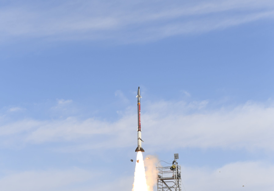 A David's Sling interceptor missile is fired during a test, March 19th, 2019