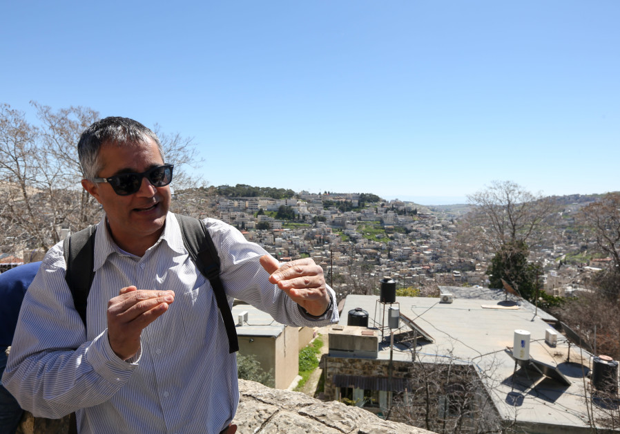 Yonathan Mizrahi in front of Silwan (Credit: Marc Israel Sellem/The Jerusalem Post)