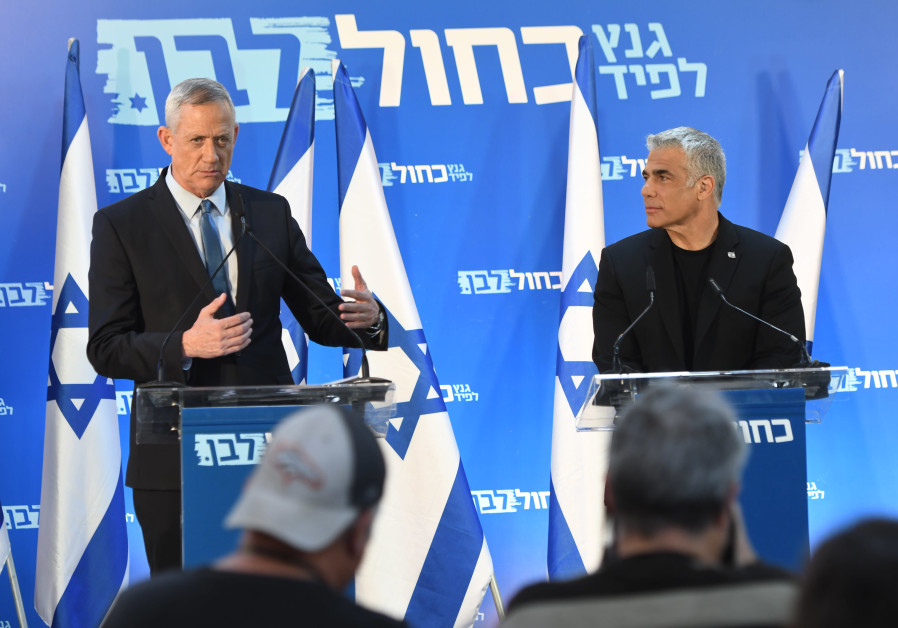 Benny Gantz (L) and Yair Lapid (R) at a press conference, March 21st, 2019