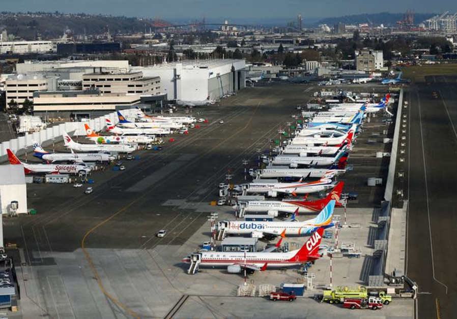 An aerial photo shows several Boeing 737 MAX airplanes grounded at Boeing Field in Seattle