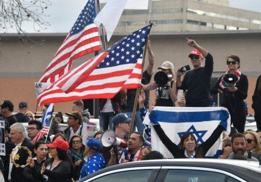Stop Antisemitism staged a large protest outside the Hilton Hotel in Los Angeles where Ilhan Omar wa