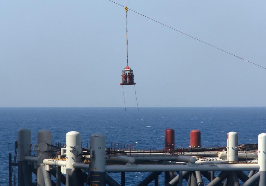 A natural gas platform of the coast of Israel.
