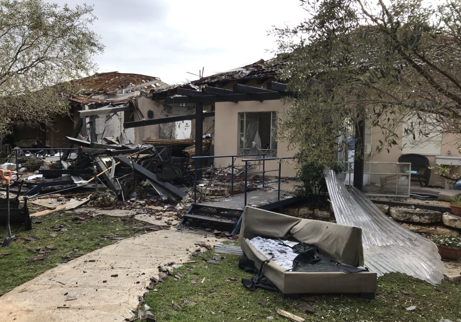 The house destroyed by rocket fire, March 25th, 2019