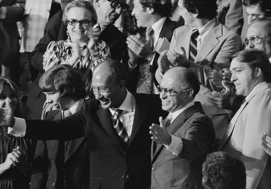 THEN-PRIME MINISTER Menachem Begin, with Egyptian leader Anwar Sadat, visit Congress in 1978 (Reuters)