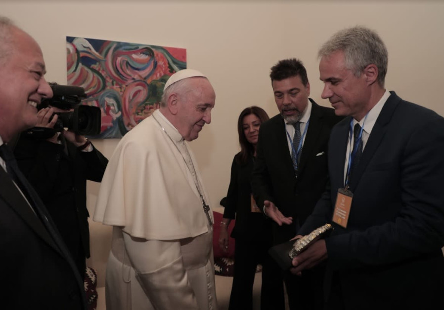 POPE FRANCIS meets with (from left) Jose Maria del Corral, Dario Werthein and Avi Ganon