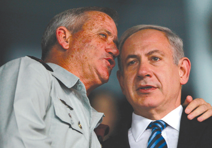 PRIME MINISTER Benjamin Netanyahu and then-IDF chief of staff Benny Gantz speak in 2013. One of them