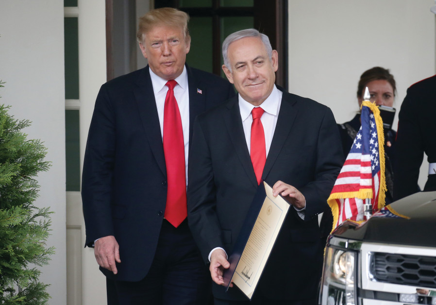 US PRESIDENT Donald Trump sees Prime Minister Netanyahu off from the White House in Washington