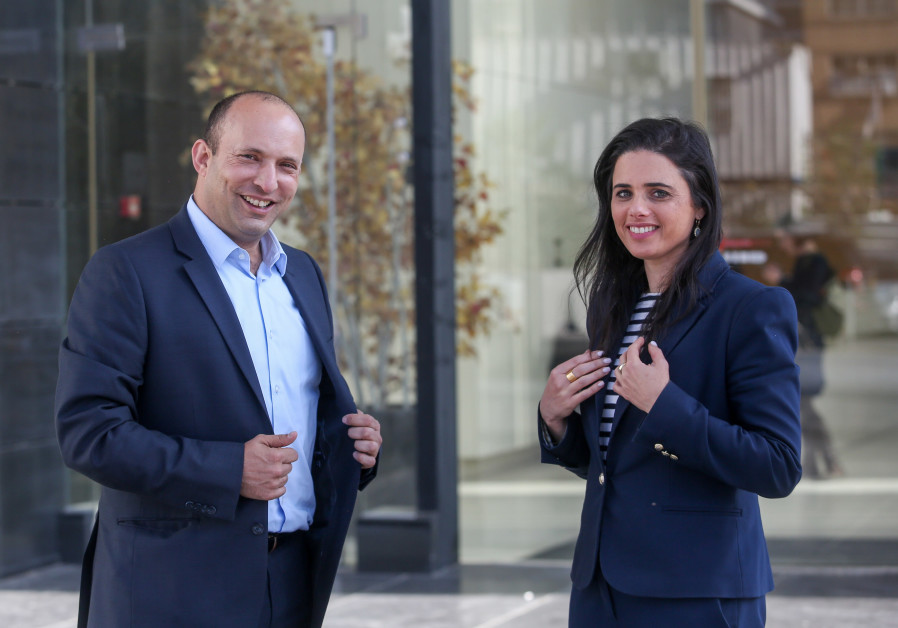 Head of the New Right Party Naftali Bennett and Justice Minister Ayelet Shaked, 2019.