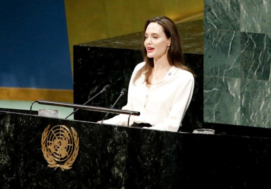 Actor and UNHCR Special Envoy Angelina Jolie addresses a U.N. ministerial meeting on peacekeeping