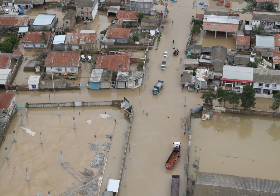 An aerial view of flooding in Golestan province, Iran March 27, 2019