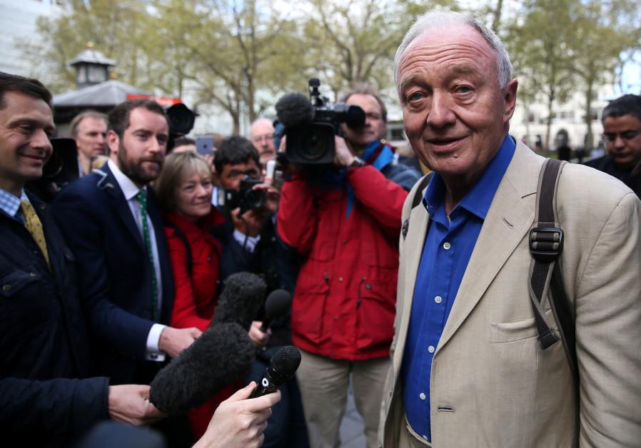 Former London mayor Ken Livingstone speaks to the media after appearing on the LBC radio station