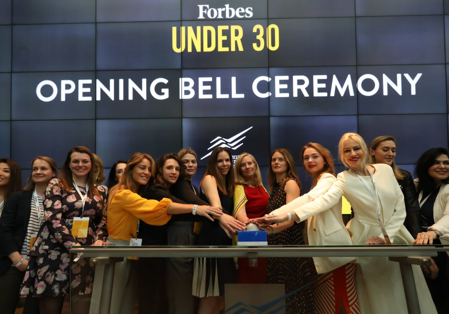 Forbes Under 30 Global Women's Summit participants open the trading at Tel Aviv Stock Exchange